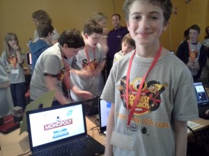 Michael Lough of Athlone CoderDojo with his Monopoly game made in Scratch