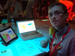 "Jake O'Toole of CoderDojo DCU with his app ""Tech Made Easy"" made with HTML, CSS & Javascript"