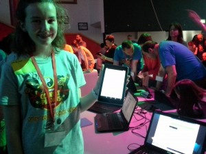 Helen Aherne of CoderDojo Thurles with her Polling app, made in AppInventor